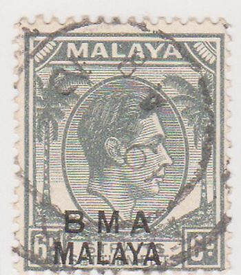 (MS-111) 1945 Malaya BMA O/P 6c grey &black KGV (E)