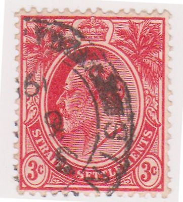 (MS-11) 1906 Straits settlements 3c red Edward VII (A)