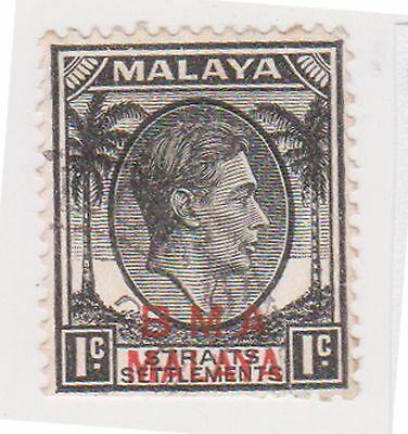 (MS-88) 1945 Malaya BMA O/P 1c black& red KGV (C)