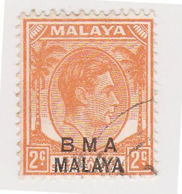 (MS-96) 1945 Malaya BMA O/P 2c orange &black KGV (F)