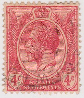 (MS-25) 1919 Straits Settlements 4c red KGV (A)