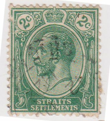 (MS-23) 1919 Straits settlements 2c green KGV (B)