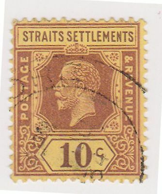 (MS-45) 1912 Straits settlements 10c purple& yellow KGV (B)