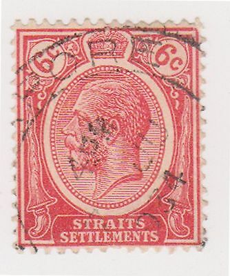 (MS-43) 1919 Straits settlements 6c red KGV (A)