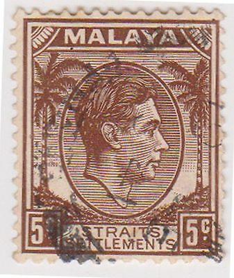 (MS-73) 1937 Malaya 5c brown KGV (C)