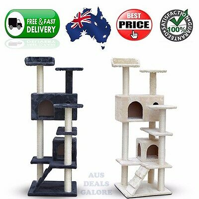 Medium Tall Cat Kitten Grooming Scratching Tree Post Gym Furniture Tower Ladder