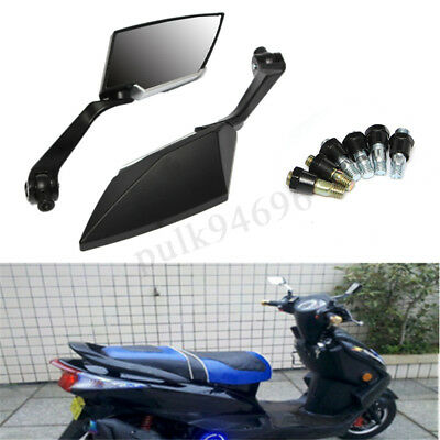 Black Universal Motorcycle Rear View Mirrors 8Mm 10Mm For Honda Yamaha Suzuki