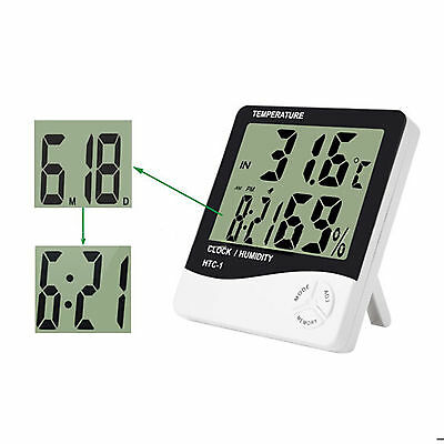 Accurate Digital Temperature Humidity Meter Thermometer LCD Clock Alarm