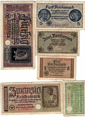 B )  FULL SET !  Lot of 6 ORIGINAL BANKNOTES WWII NAZI GERMANY GERMAN REICHSMARK