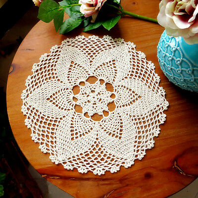 12'' Round Hand Crochet Floral Table Cloth Mat Doily French Country Ecru Runner