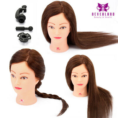 100% Real Human Hair Hairdressing Doll Training Practice head Mannequin + Clamp