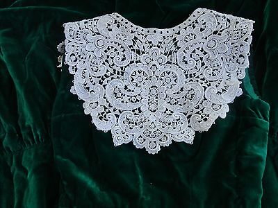 Stunning Antique Cotton Lace Collar-Large Ornate Floral Motifs