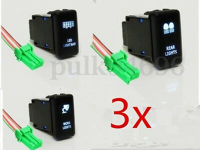 3x Push Button Switch Blue LED Rear Work Light Bar For Toyota Hilux Landcruiser