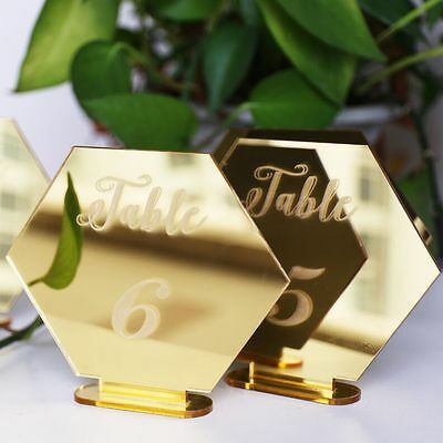 Hexagon mirror gold Table number Wedding Standing Numbers Acrylic table number