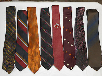 """8 Vintage Lot Mens Neck Ties 1960 - 1970's 3"""" Polyester Rayon"""