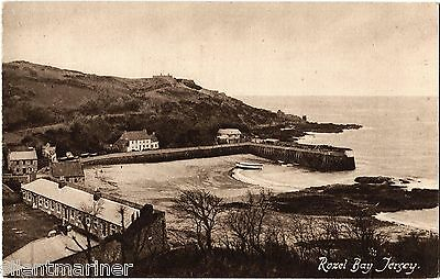 Rozel Bay, Jersey, old sepia postcard, unposted