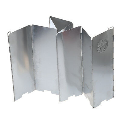 8-Plate Aluminum Alloy Camping Cooker Stove Foldable Wind Shield Screen JI
