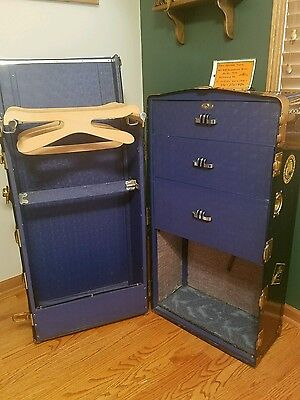 RESTORED Vtg Antique 1920 -30s H.W Roundtree Fibre Steamer -Wardrobe Trunk