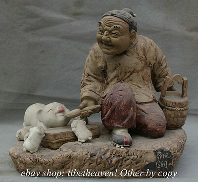 "12"" Old Chinese Pottery Porcelain Grandmother Figure Feed Pigs Statue Sculpture"