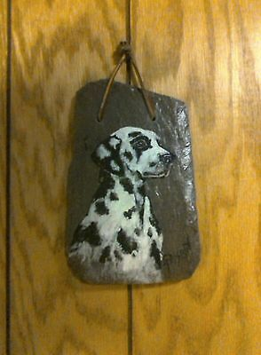 "Hand Painted Slate of Dalmation Dog. ( 6""X4"")"