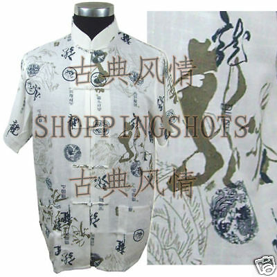chinese kungfu suit clothing Dragon tai chi clothes 093407 white size S-XXL