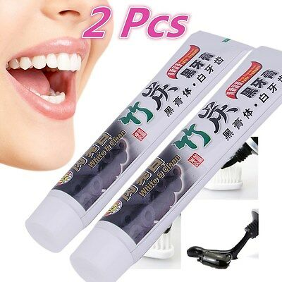 2Pcs Bamboo Charcoal Teeth Whitening Toothpaste Removes Stains Bad Breath XP