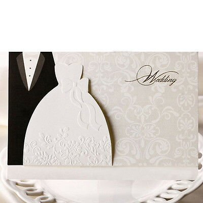 Bride and Groom Personalised Laser Cut Wedding Day Evening Invitation& Envelopes