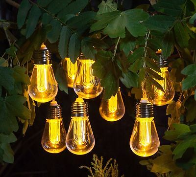 Outdoor Vintage Light Bulb Light String of 10 Battery Powered Eddison Lightbulb