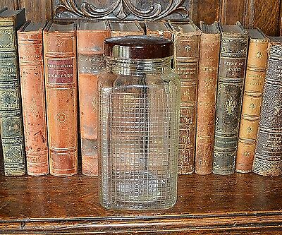 Vintage French Glass Canister Jar Storage with Brown Bakelite Lid