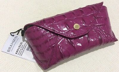 BRAHMIN Eyeglass Case CASSIS Melbourne Genuine Leather Deep Pink W/ Raspberry