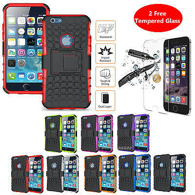 Shockproof Heavy Duty Stand Armour Case Cover + Tempered Glass Screen Protector