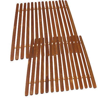 Square Bamboo Trivet Hot Mat for Counter Tops and Tables by bogo Brands (2 pack)