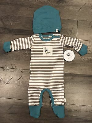 Burts Bees Organic cotton Coverall And Slouchy Hat Set 3-6 Months
