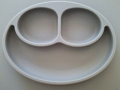 The Original EZPZ Happy Mat Grey Silicone Placemat Plate One Piece