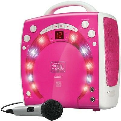 Kids Singing Machine Portable Plug-n-Play Karaoke Pink Girls Lights MP3 Player