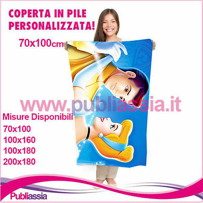 Plaid coperta in pile cartoon CENERENTOLA 1 (VARIE MISURE)