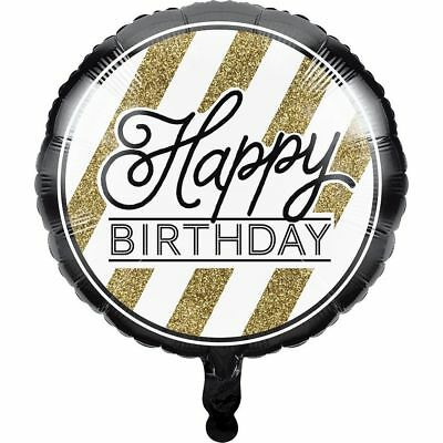 "Black and Gold Happy Birthday 18"" Foil Balloon Party Decoration"