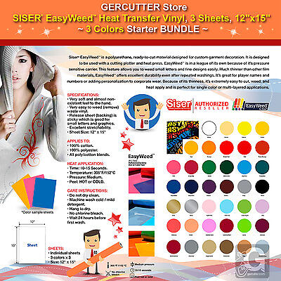 "SISER EASYWEED HEAT TRANSFER VINYL, 3 SHEETS, 12""x15"", 3 COLORS STARTER BUNDLE"