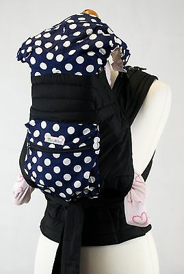 Mei Tai Baby Sling Reversible Carrier with Removable Hood & Pocket- Blue & White