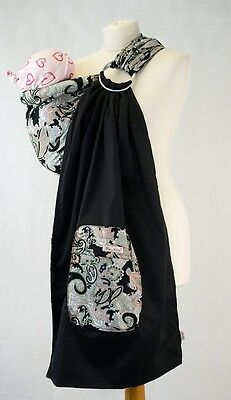 Palm and Pond Black Paisley Ring Baby Sling Hip/Cradle Cotton Baby Carrier