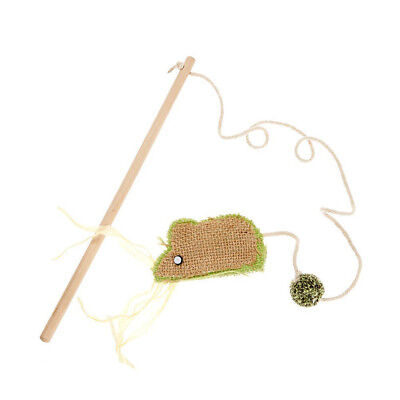 Earthy Pawz Jute Fabric Mouse Cat Teaser Toy | Eco Friendly Canvas Wood Natural