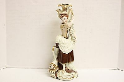 "Beautiful Vintage Hand Painted 15"" Porcelain Woman Candlestick Vase Golden Brown"