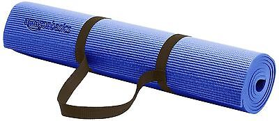 AmazonBasics 1/4-Inch Yoga and Exercise Mat with Carrying Strap Blue