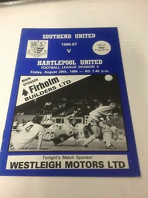 1986/87 Southend United v Hartlepool United 29/8/86 League