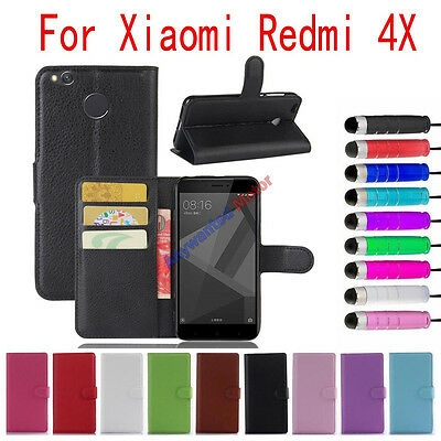 For Xiaomi Redmi 4X Leather Stands Wallet Card Slot Flip Cover Case + Stylus