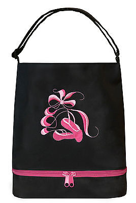 BAL-05 BLACK    Ballet Tote Bag with Shoe compartment