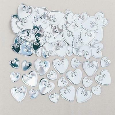 Loving Hearts Silver Embossed Metallic Table Confetti 14g Party Sprinkles/Decora