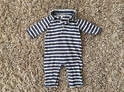 Boys Infant babyGAP Blue Beige Striped One Piece Outfit Size 3-6 Months