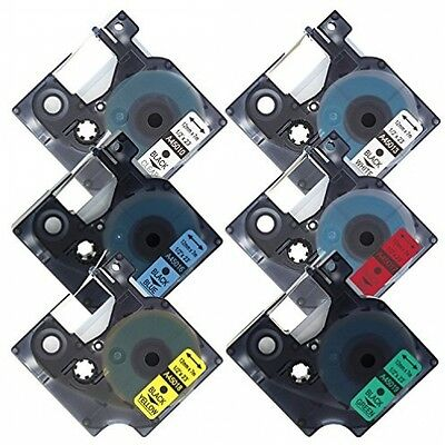 Fimax 6 Pack Dymo D1 45010 45013 45016 45017 45018 45019 Compatible Label Tapes
