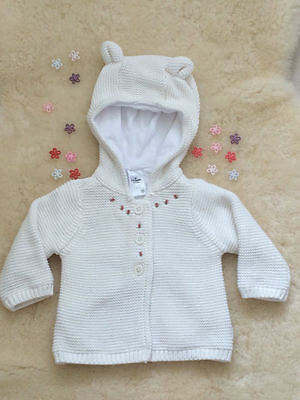 Baby Cardigan, Embroidered Baby Winter Cardigan Size 000